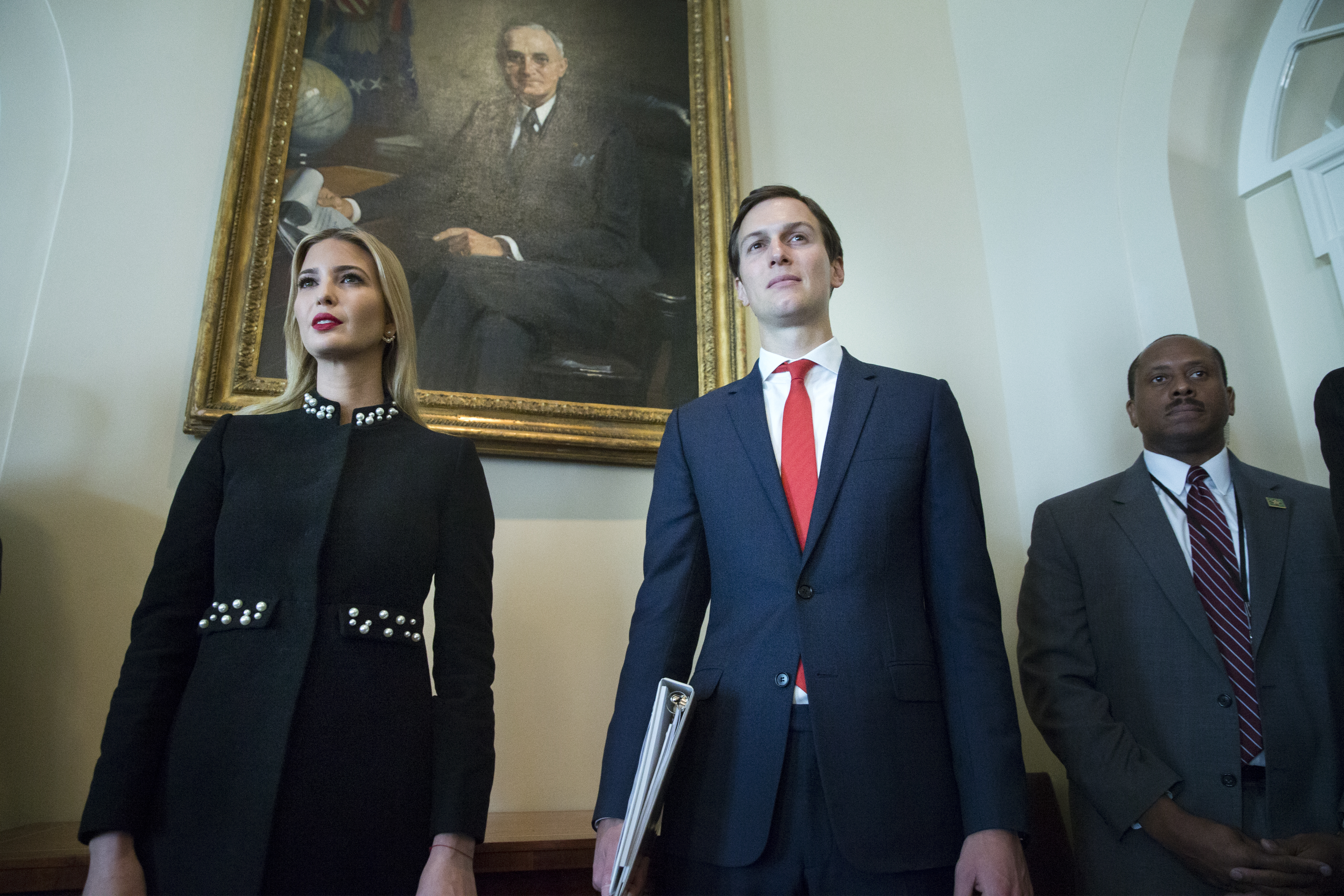 WASHINGTON, DC - MARCH 8: White House Senior Advisor Jared Kushner (R) and Ivanka Trump (L) attend a meeting held by US President Donald J. Trump with members of his Cabinet, in the Cabinet Room of the White House in Washington, DC, (Photo by Michael Reynolds-Pool/Getty Images)