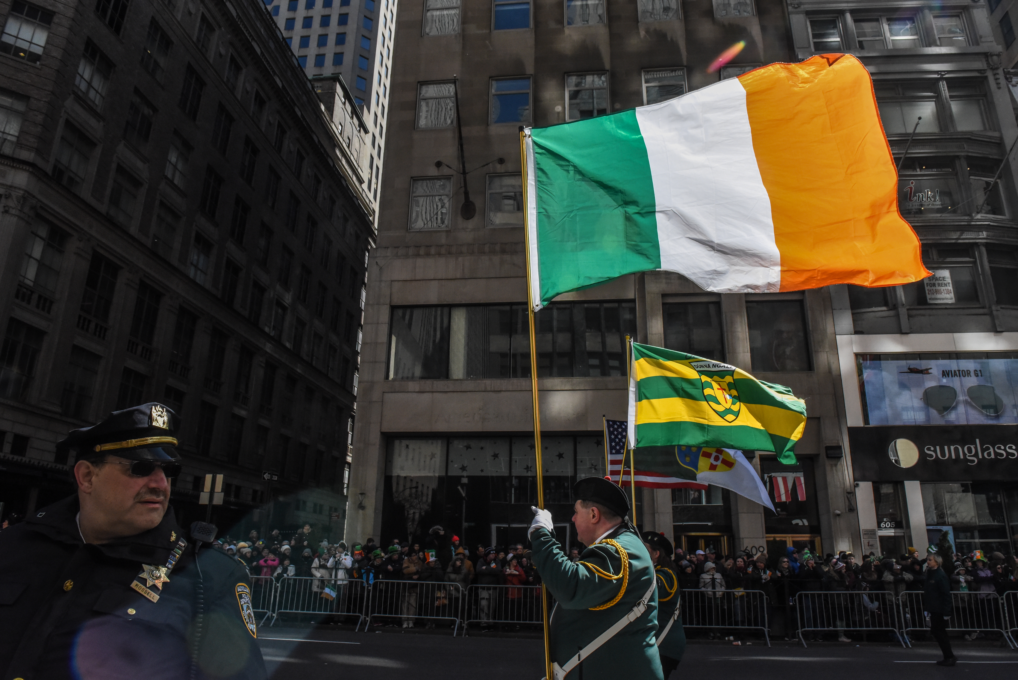 People participate in the annual St. Patrick's Day parade along 5th Ave. on March 17, 2018 in New York City. New York's Saint Patrick's Day parade is the largest in the world. (Photo by Stephanie Keith/Getty Images)