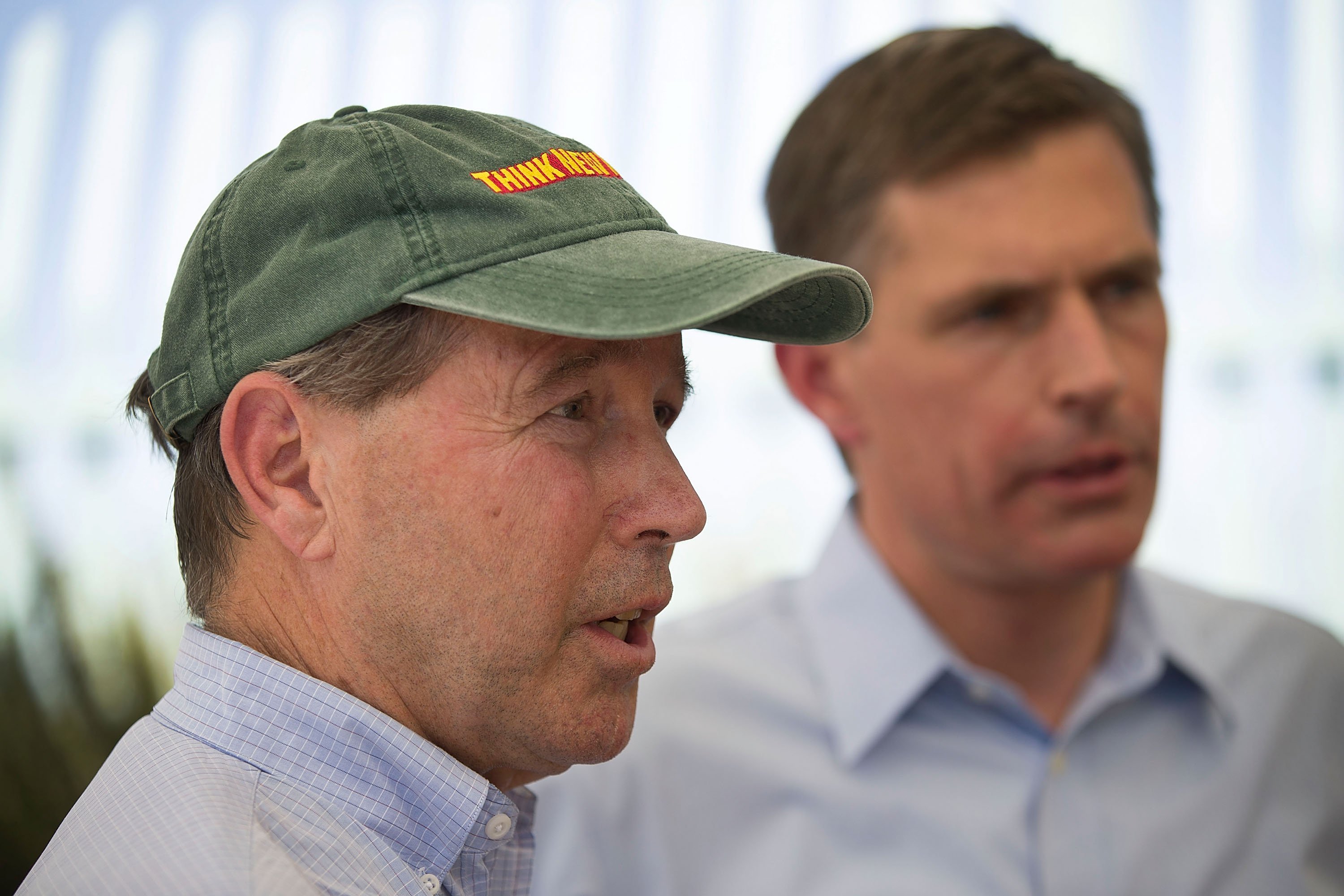 U.S. Senators Tom Udall and Martin Heinrich (L-R) speak to the media after visiting the Paseo del Norte Port of Entry bridge on June 22, 2018 in El Paso, Texas. (Photo by Joe Raedle/Getty Images)