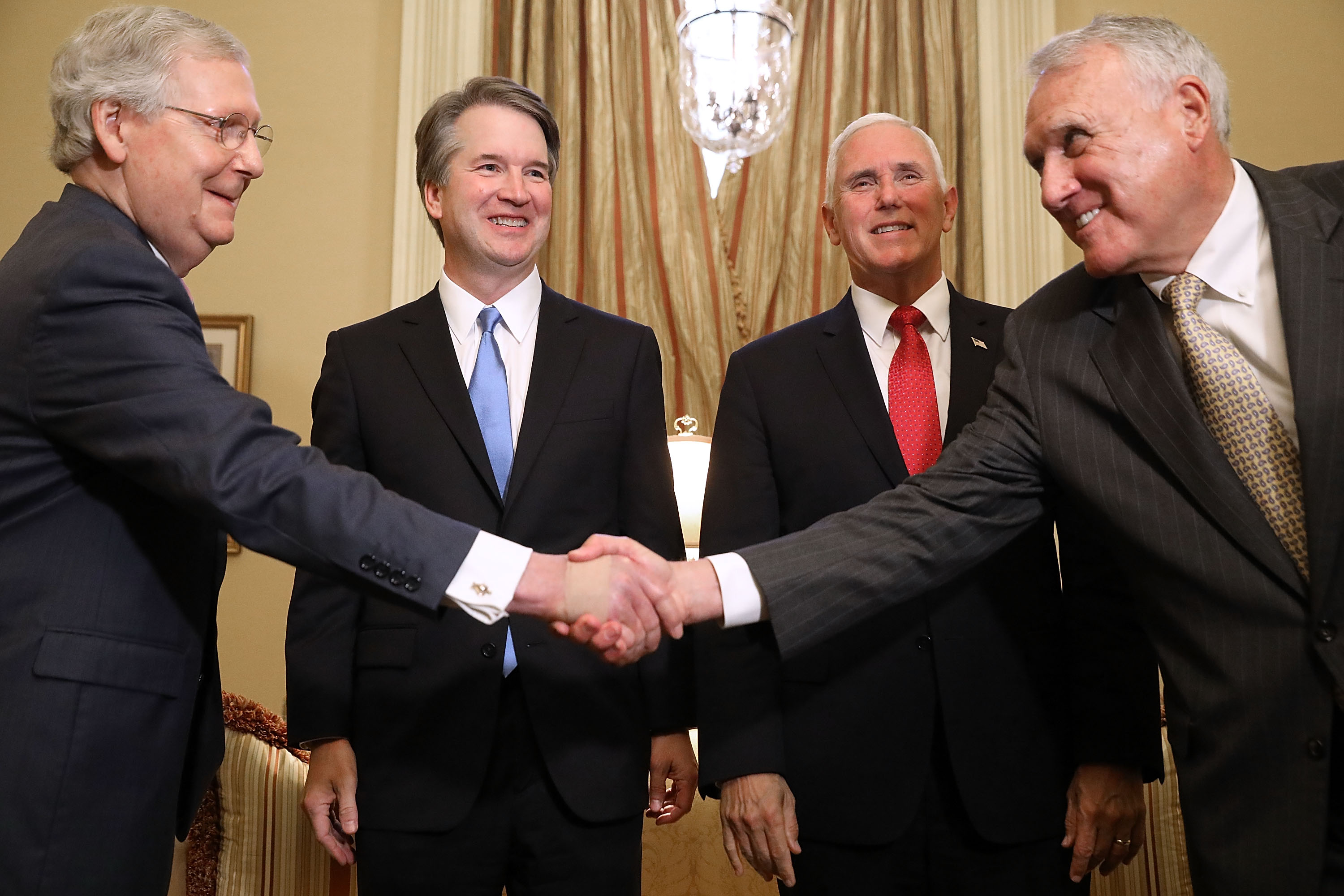 (L-R) Senate Majority Leader Mitch McConnell, Judge Brett Kavanaugh, Vice President Mike Pence and former Sen. Jon Kyl greet one another before a meeting in McConnell's office in the U.S. Capitol July 10, 2018 in Washington, DC. (Photo by Chip Somodevilla/Getty Images)