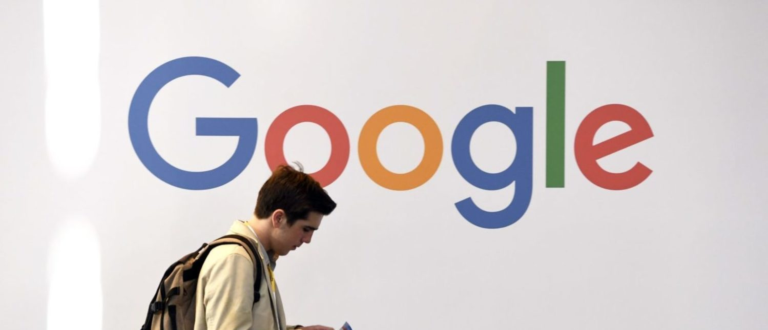 A man walks past the logo of the U.S. multinational technology company Google during the VivaTech trade fair ( Viva Technology), on May 24, 2018 in Paris. (ALAIN JOCARD/AFP/Getty Images)