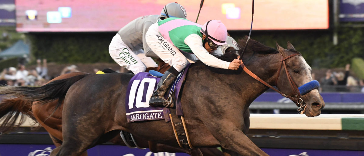 Mike Smith aboard Arrogate takes the lead in front of Victor Espinoza aboard California Chrome in race twelve during the 33rd Breeders Cup world championships at Santa Anita Park. Mandatory Credit: Richard Mackson-USA TODAY Sports