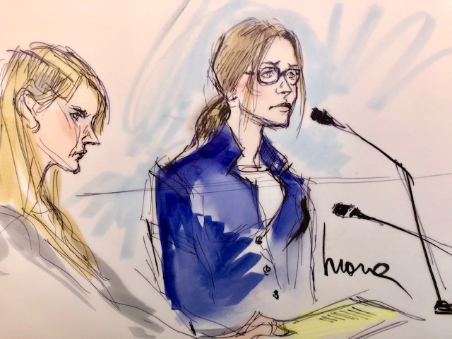 Actor Felicity Huffman (R) appears in this court sketch at an initial hearing for defendants in a racketeering case involving the allegedly fraudulent admission of children to elite universities, at the U.S. federal courthouse in downtown Los Angeles, California, U.S., March 12, 2019. Image created March 12, 2019. REUTERS/Mona Edwards NO RESALES. NO ARCHIVE.