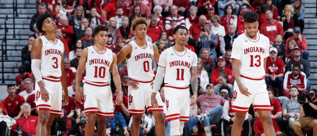 BLOOMINGTON, IN - NOVEMBER 09: Indiana Hoosiers players take the floor against the Montana State Bobcats in the second half of the game at Assembly Hall on November 9, 2018 in Bloomington, Indiana. The Hoosiers won 80-35. (Photo by Joe Robbins/Getty Images)