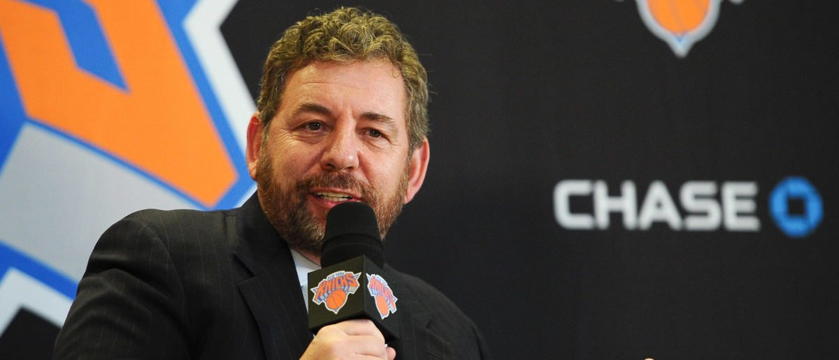 NEW YORK, NY - MARCH 18: James Dolan, Executive Chairman of Madison Square Garden, answers questions during the press conference to introduce Phil Jackson as President of the New York Knicks at Madison Square Garden on March 18, 2014 in New York City. (Photo by Maddie Meyer/Getty Images)