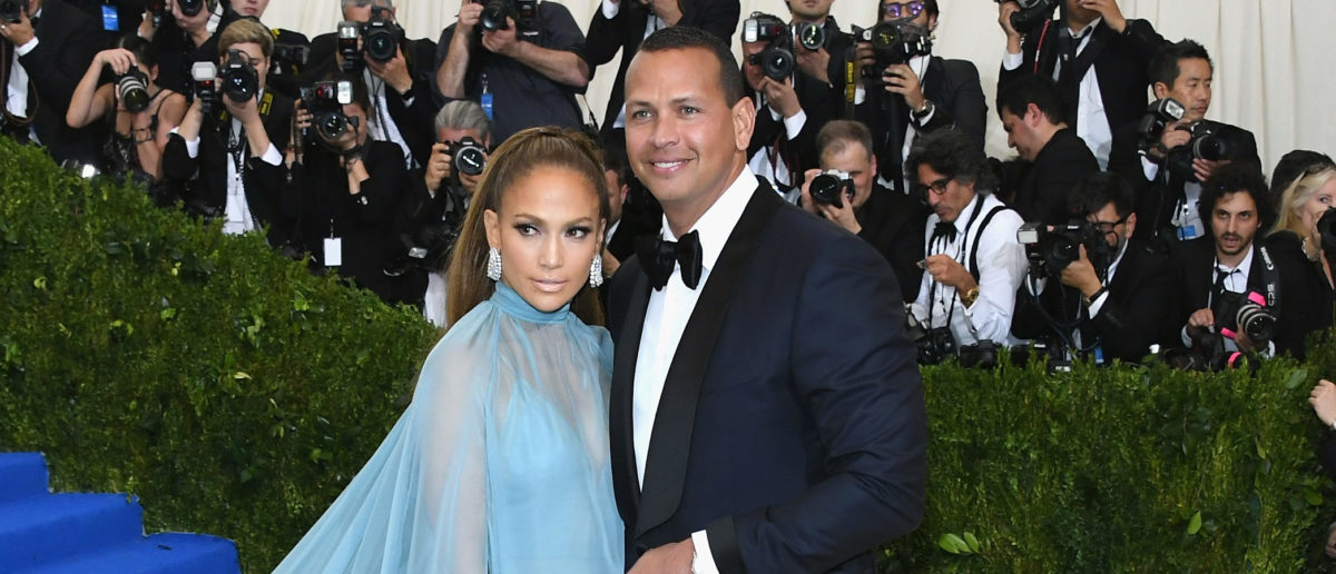 """Jennifer Lopez (L) and Alex Rodriguez attend the """"Rei Kawakubo/Comme des Garcons: Art Of The In-Between"""" Costume Institute Gala at Metropolitan Museum of Art on May 1, 2017 in New York City. (Photo by Dia Dipasupil/Getty Images For Entertainment Weekly)"""