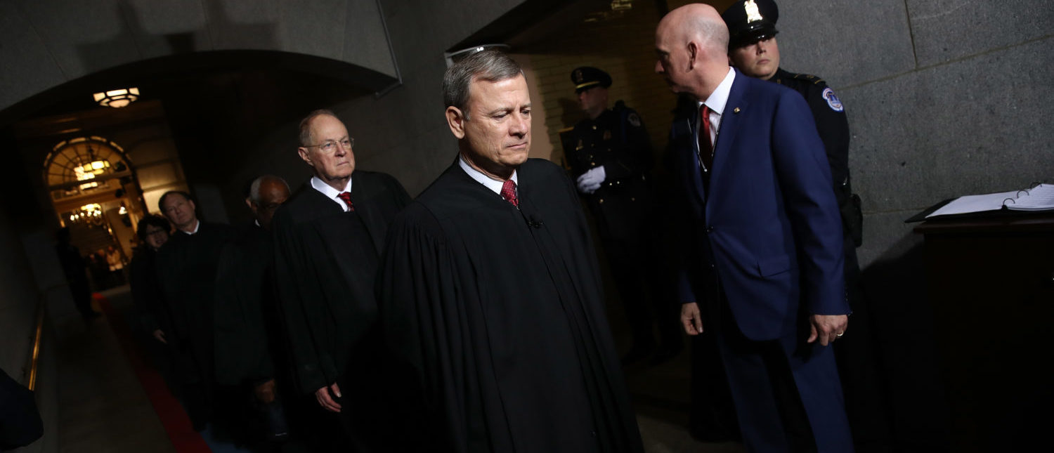 Chief Justice John Roberts arrives on the West Front of the U.S. Capitol on Jan. 20, 2017. (Win McNamee/Getty Images)