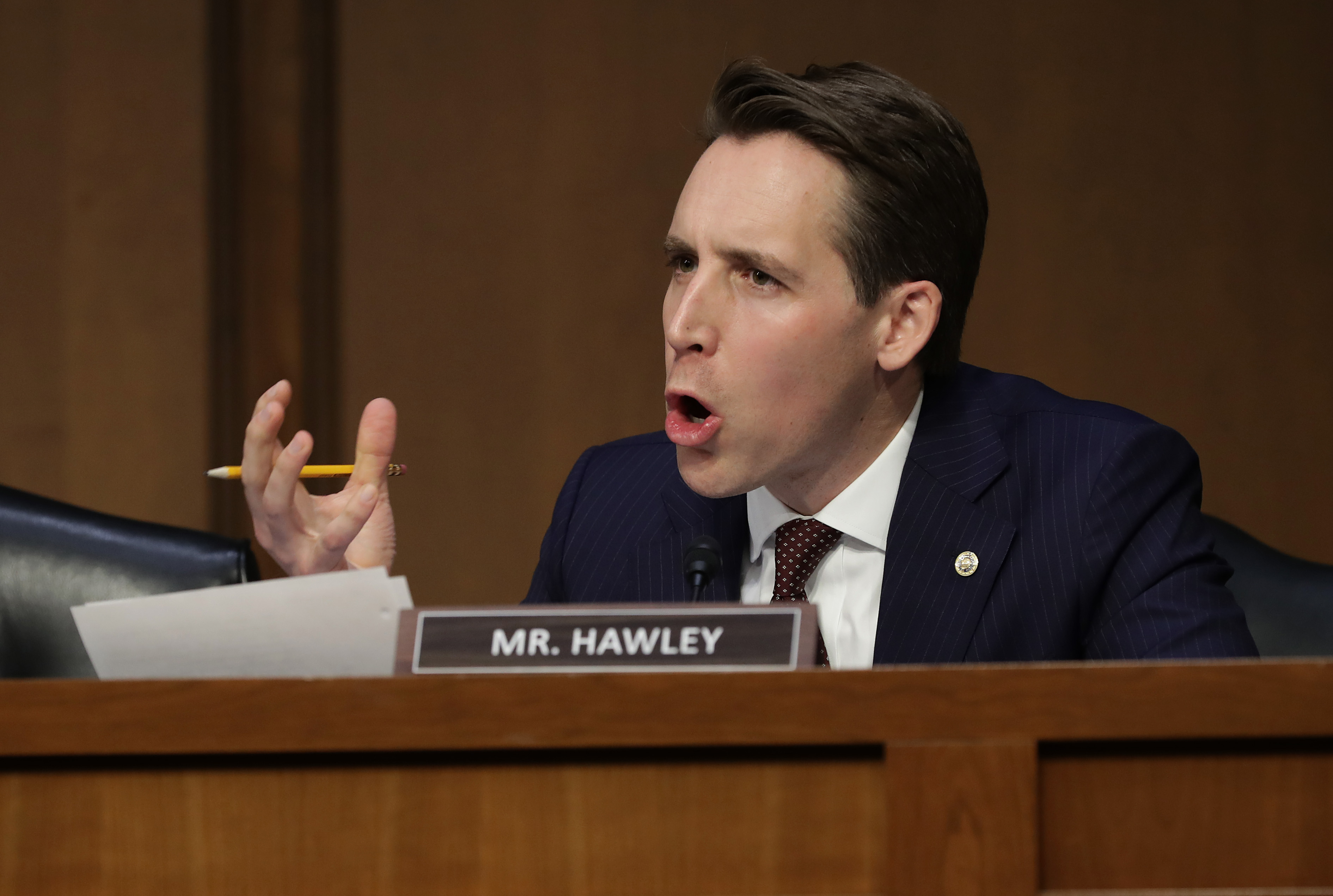 Sen. Josh Hawley (R-MO) questions William Barr during his confirmation hearing on January 15, 2019. (Chip Somodevilla/Getty Images)