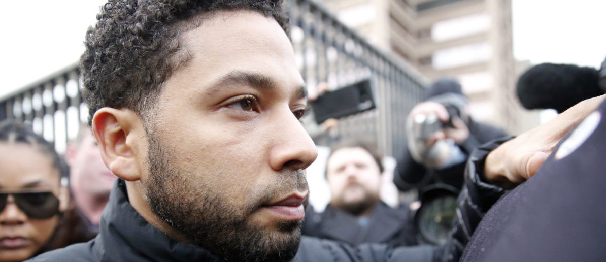 Empire actor Jussie Smollett leaves Cook County jail after posting bond on February 21, 2019 in Chicago, Illinois. Smollett has been accused with arranging a homophobic, racist attack against himself in an attempt to raise his profile because he was dissatisfied with his salary. (Photo by Nuccio DiNuzzo/Getty Images)