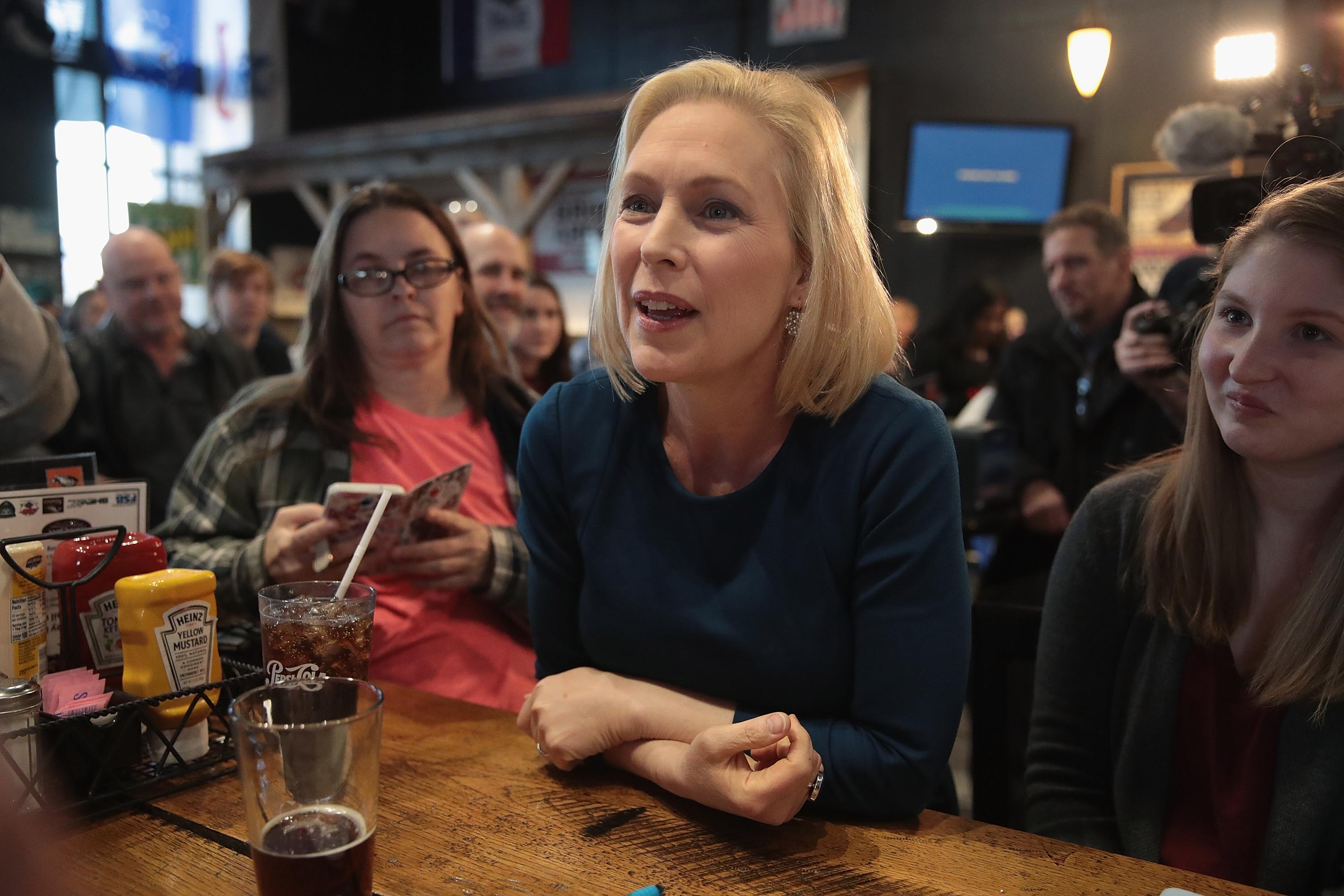 Senator Kirsten Gillibrand speaks to guests during a campaign stop at the Chrome Horse Saloon in Cedar Rapids, Iowa. (Scott Olson/Getty Images)
