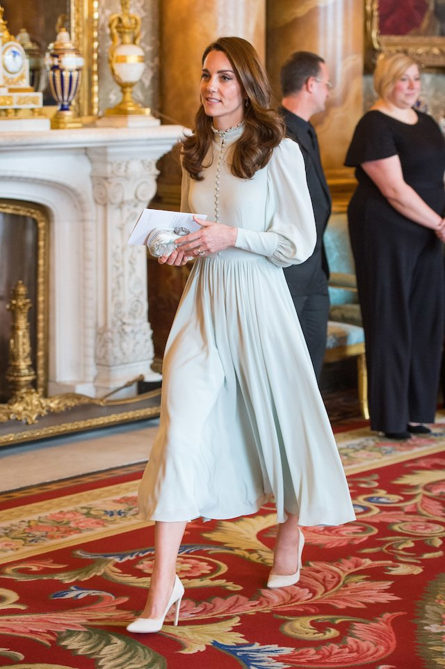 Britain's Catherine, Duchess of Cambridge, attends a reception to mark the 50th Anniversary of the investiture of The Prince of Wales at Buckingham Palace in London on March 5, 2019. - The Queen hosted a reception to mark the Fiftieth Anniversary of the investiture of Britain's Prince Charles, her son, as the Prince of Wales. Prince Charles was created The Prince of Wales aged 9 on July 26th 1958 and was formally invested with the title by Her Majesty The Queen on July 1st 1969 at Caernarfon Castle. (Photo credit: DOMINIC LIPINSKI/AFP/Getty Images)