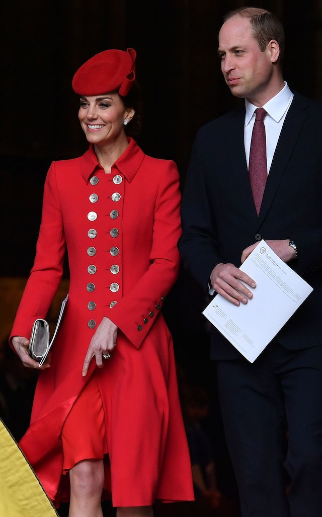 Britain's Prince William, Duke of Cambridge (R) and Britain's Catherine, Duchess of Cambridge leave after attending a Commonwealth Day Service at Westminster Abbey in central London, on March 11, 2019. - Britain's Queen Elizabeth II has been the Head of the Commonwealth throughout her reign. Organised by the Royal Commonwealth Society, the Service is the largest annual inter-faith gathering in the United Kingdom. (Photo credit: BEN STANSALL/AFP/Getty Images)