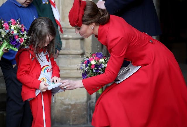 Catherine, Duchess of Cambridge speaks to a young wellwisher as she departs the Commonwealth Service on Commonwealth Day at Westminster Abbey on March 11, 2019 in London, England. The Commonwealth represents 53 countries and almost 2.4 billion people and 2019 marks the 70th anniversary of the modern Commonwealth, enabling cooperation towards social, political and economic development. (Photo by Chris Jackson/Getty Images)