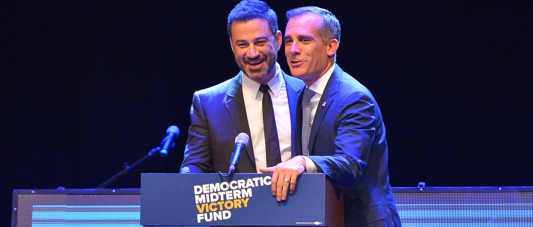 LOS ANGELES, CA - SEPTEMBER 25: Jimmy Kimmel and Los Angeles Mayor Eric Garcetti speak onstage at 1 Night, $1 Million, 10 States, 100s Of Victories With Eric Garcetti, Jimmy Kimmel, And Dj Khaled on September 25, 2018 in Los Angeles, California. (Photo by Charley Gallay/Getty Images for Democratic Midterm Victory Fund)