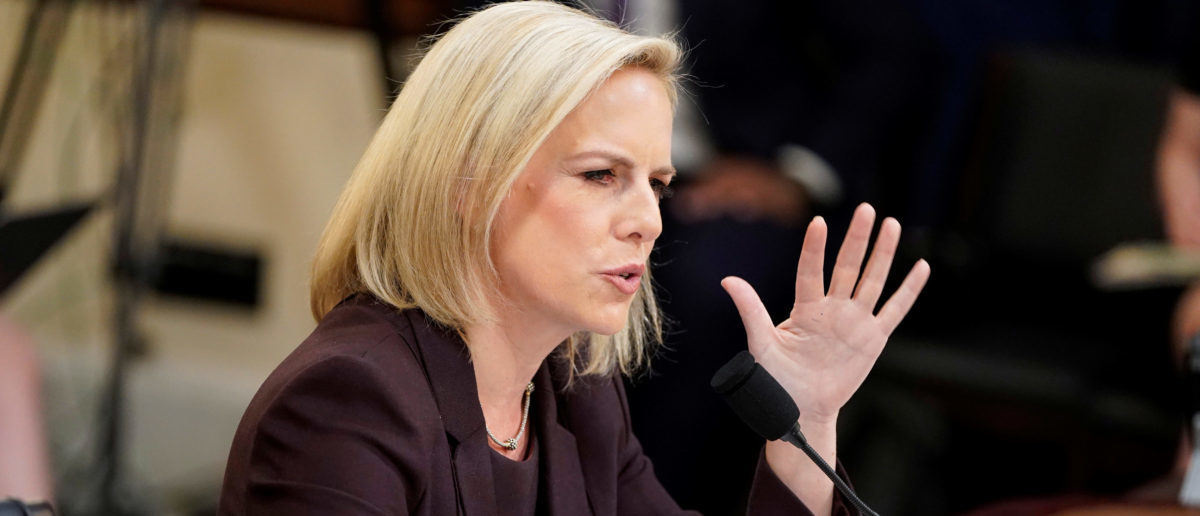 "Department of Homeland Security Secretary Kirstjen Nielsen testifies before a House Homeland Security Committee hearing on ""The Way Forward on Border Security"" on Capitol Hill in Washington, U.S., March 6, 2019. REUTERS/Joshua Roberts"