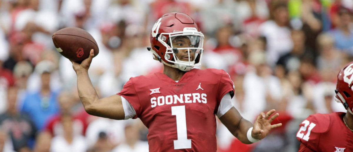 NORMAN, OK - SEPTEMBER 08: Quarterback Kyler Murray #1 of the Oklahoma Sooners looks to throw against the UCLA Bruins at Gaylord Family Oklahoma Memorial Stadium on September 8, 2018 in Norman, Oklahoma. The Sooners defeated the Bruins 49-21. (Photo by Brett Deering/Getty Images)