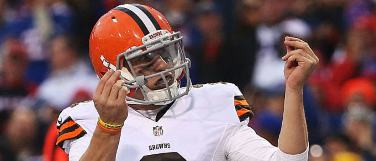 ORCHARD PARK, NY - NOVEMBER 30: Johnny Manziel #2 of the Cleveland Browns celebrates a touchdown against the Buffalo Bills during the second half at Ralph Wilson Stadium on November 30, 2014 in Orchard Park, New York. (Photo by Tom Szczerbowski/Getty Images)