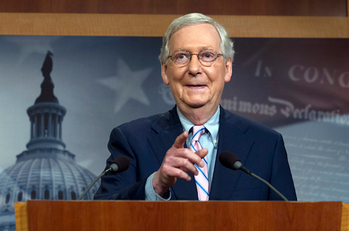 Senate Majority Leader Mitch McConnell, R-KY, speaks during a news conference following the confirmation vote of Supreme Court nominee Brett Kavanaugh on Capitol Hill in Washington DC, on October 6, 2018. (Photo by Jose Luis Magana / AFP) (Photo credit should read JOSE LUIS MAGANA/AFP/Getty Images)