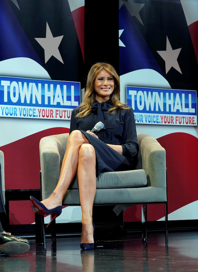 """U.S. first lady Melania Trump takes part in a town hall on opioid abuse while on a three-state tour promoting her """"Be Best"""" initiative in Las Vegas, Nevada, U.S. March 5, 2019. REUTERS/Kevin Lamarque"""