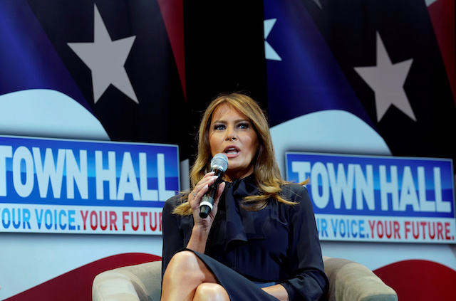 "U.S. first lady Melania Trump takes part in a town hall on opioid abuse while on a three-state tour promoting her ""Be Best"" initiative in Las Vegas, Nevada, U.S., March 5, 2019. REUTERS/Kevin Lamarque"