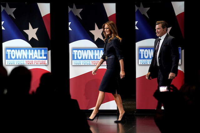"U.S. first lady Melania Trump arrives to speak at a town hall on opioid abuse while on a three-state tour promoting her ""Be Best"" initiative in Las Vegas, Nevada, U.S., March 5, 2019. REUTERS/Kevin Lamarque"