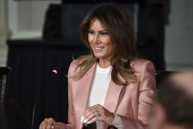 US First Lady Melania Trump hosts an Interagency meeting to discuss youth programs throughout each of the member agencies at the White House in Washington, DC, on March 18, 2019. (Photo credit: JIM WATSON/AFP/Getty Images)