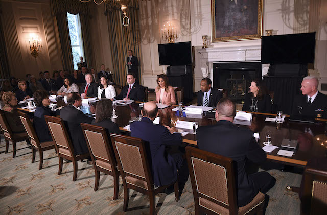 US First Lady Melania Trump(C) hosts an Interagency meeting to discuss youth programs throughout each of the member agencies at the White House in Washington, DC, on March 18, 2019. (Photo credit: JIM WATSON/AFP/Getty Images)
