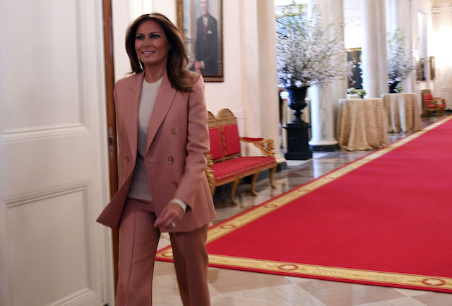 US First Lady Melania Trump arrives to host an Interagency meeting to discuss youth programs throughout each of the member agencies at the White House in Washington, DC, on March 18, 2019. (Photo credit: JIM WATSON/AFP/Getty Images)
