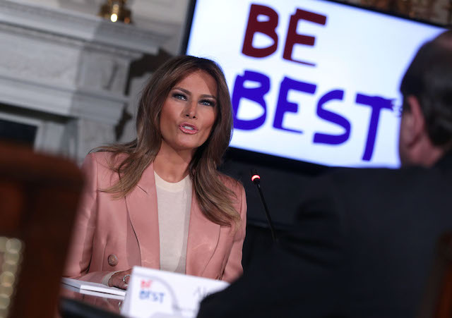 U.S. first lady Melania Trump speaks to representatives of an Interagency Working Group on Youth Programs during a State Dining Room event at the White House March 18, 2019 in Washington, DC. The first lady convened a meeting of the group to discuss youth programs that align with her Be Best initiative. (Photo by Alex Wong/Getty Images)