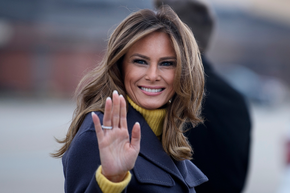 "US First Lady Melania Trump boards a plane at Andrews Air Force Base for a three state overnight trip March 4, 2019 in Maryland. - The First Lady travels to Oklahoma, Washington, and Nevada as part of her ""Be Best"" tour. (Photo by Brendan Smialowski / AFP) (Photo credit should read BRENDAN SMIALOWSKI/AFP/Getty Images)"