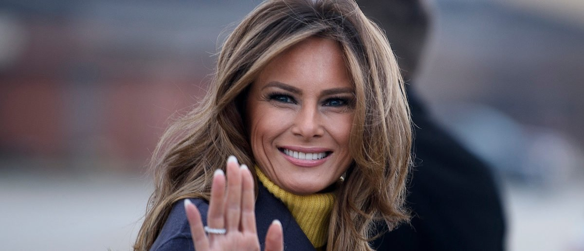 """US First Lady Melania Trump boards a plane at Andrews Air Force Base for a three state overnight trip March 4, 2019 in Maryland. - The First Lady travels to Oklahoma, Washington, and Nevada as part of her """"Be Best"""" tour. (Photo: BRENDAN SMIALOWSKI/AFP/Getty Images)"""