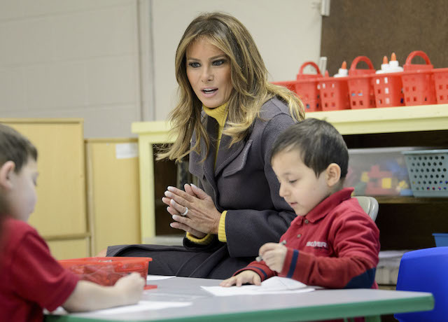 "US First Lady Melania Trump visits a prekindergarten class at the Dove School of Discovery on March 4, 2019 in Tulsa, Oklahoma. - The First Lady is travelling to Oklahoma, Washington, and Nevada as part of her ""Be Best"" tour. (Photo credit: BRENDAN SMIALOWSKI/AFP/Getty Images)"