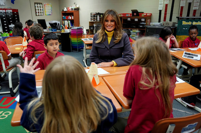 "U.S. first lady Melania Trump visits the Dove School of Discovery during a two-day, three-state tour promoting her ""Be Best"" initiative in Tulsa, Oklahoma, U.S., March 4, 2019. REUTERS/Kevin Lamarque"