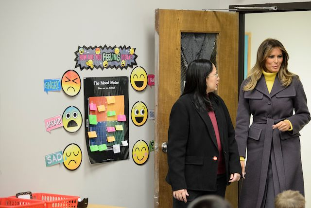 "US First Lady Melania Trump visits a 2nd grade language arts class at the Dove School of Discovery on March 4, 2019 in Tulsa, Oklahoma. - The First Lady is travelling to Oklahoma, Washington, and Nevada as part of her ""Be Best"" tour. (Photo credit: BRENDAN SMIALOWSKI/AFP/Getty Images)"