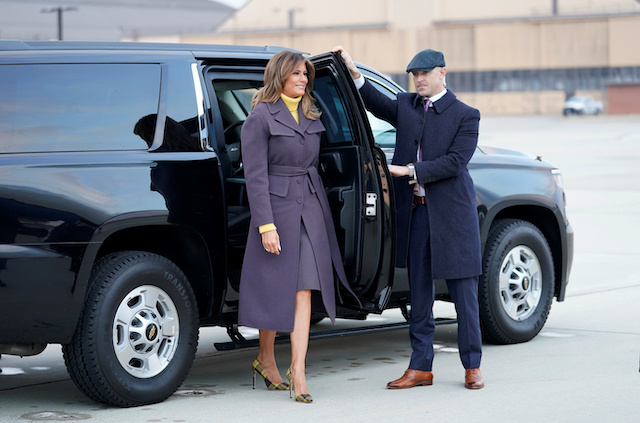 "U.S. first lady Melania Trump arrives to board a plane as she departs for her two-day, three state tour to promote her ""Be Best"" at Joint Base Andrews in Maryland March 4, 2019. REUTERS/Kevin Lamarque"