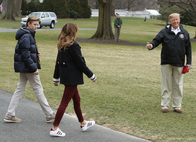 U.S. President Donald Trump, First lady Melania Trump and their son Barron Trump , depart from the South Lawn of the White House on March 8, 2019 in Washington, DC. President Trump is headed to Alabama to survey tornado damage. (Photo by Mark Wilson/Getty Images)