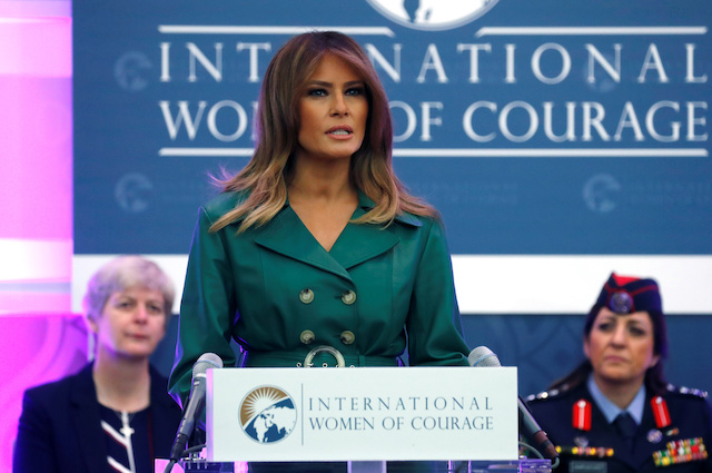 First lady Melania Trump speaks during the International Women of Courage (IWOC) celebration at the State Department in Washington, U.S., March 7, 2019. REUTERS/Kevin Lamarque