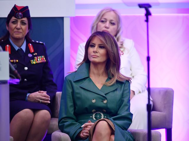 US First Lady Melania Trump listens as Secretary of State Mike Pompeo speaks during the 2019 International Women of Courage awards ceremony at the US State Department in Washington, DC on March 7, 2019. (Photo credit: MANDEL NGAN/AFP/Getty Images)