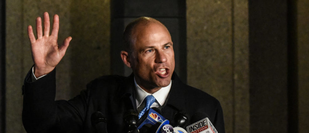 Michael Avenatti, the former lawyer for adult film actress Stormy Daniels' and a fierce critic of President Donald Trump, speaks to the media after being arrested for allegedly trying to extort Nike for $15-$25 million on March 25, 2019 in New York City. The counts against Avenatti are to include conspiracy to transmit interstate communications with intent to extort, conspiracy to commit extortion and more. Avenatti is expected to answer to the charges later Monday.(Photo by Stephanie Keith/Getty Images)