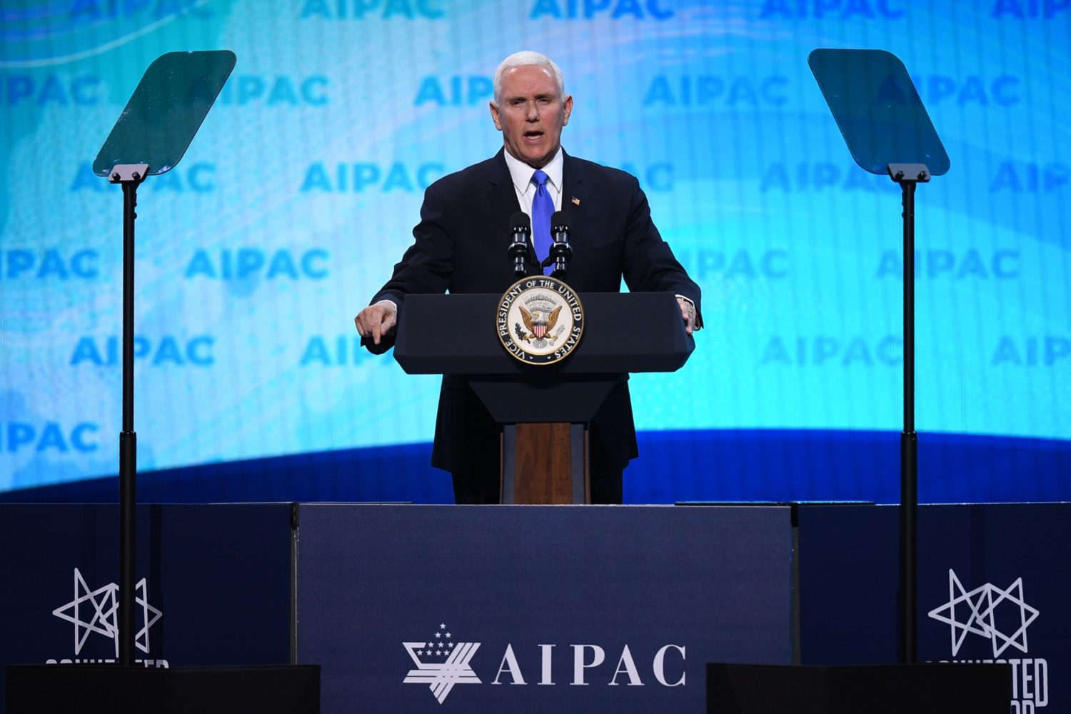 US Vice President Mike Pence speaks during the AIPAC annual meeting in Washington, DC, on March 25, 2019. (JIM WATSON/AFP/Getty Images)