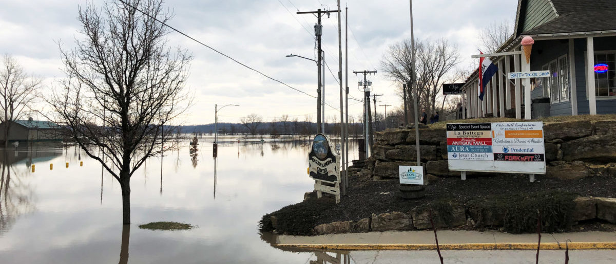 Flood water from Missouri River is seen in downtown Parkville, Missouri, U.S., March 23, 2019. Picture taken on March 23, 2019. REUTERS/Karen Dillon