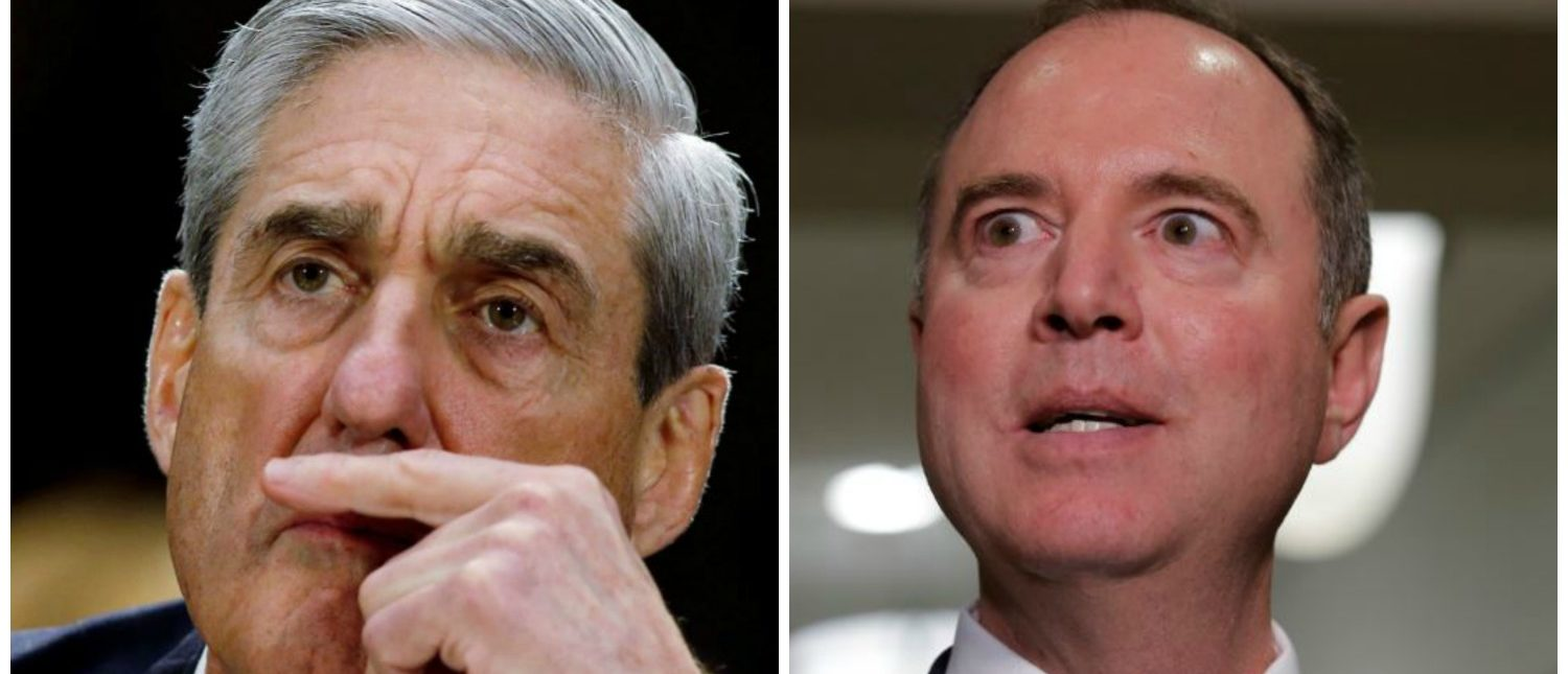Mueller listens during a Senate oversight hearing and Schiff talks after Cohen testimony (Reuters/Jim Young)