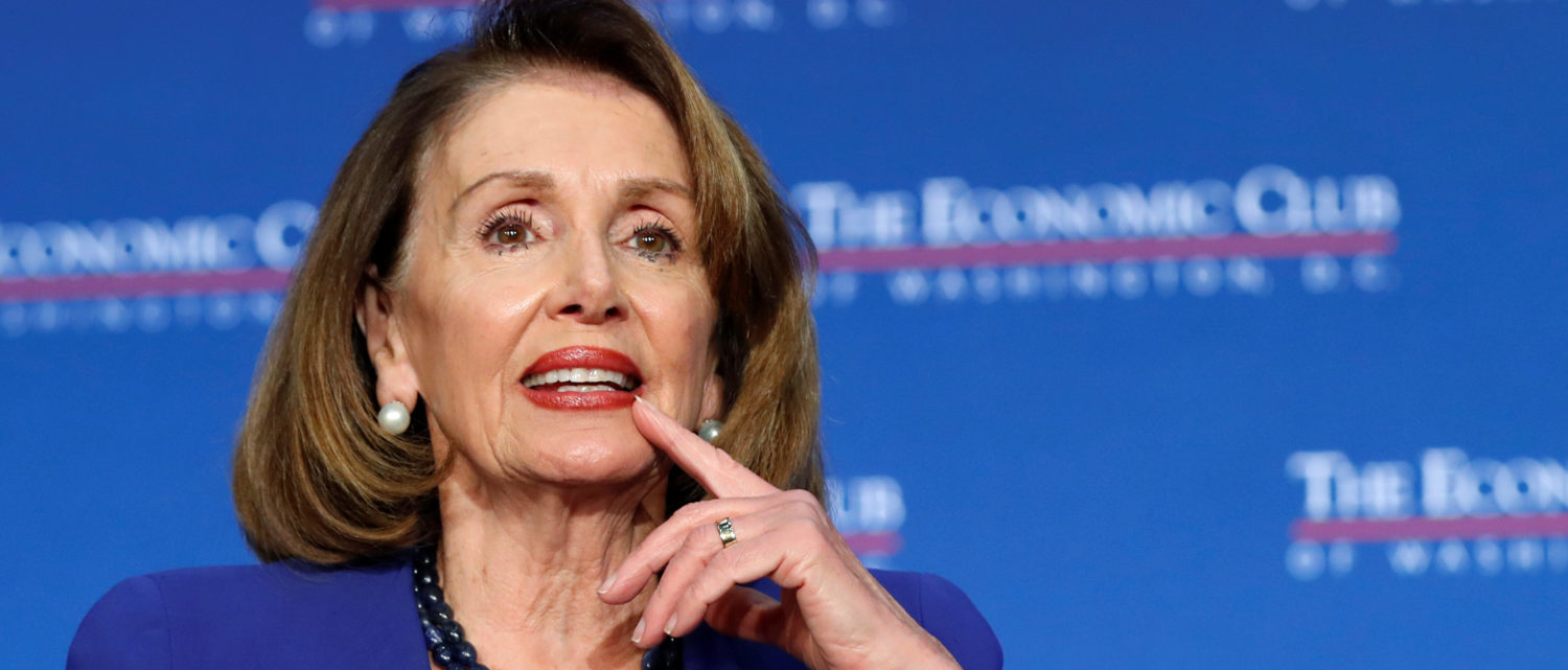 Speaker of the House Nancy Pelosi addresses guests at an event hosted by the Economic Club of Washington in Washington, U.S., March 8, 2019. REUTERS/Kevin Lamarque.