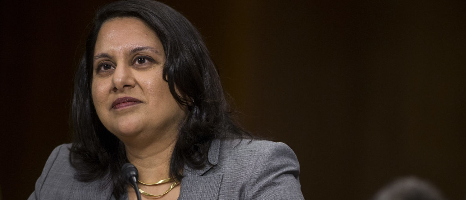 Neomi Rao, President Donald Trump's nominee for the U.S. Court of Appeals for the D.C. Circuit, testifies before the Senate Judiciary Committee on February 5, 2019. (Zach Gibson/Getty Images)