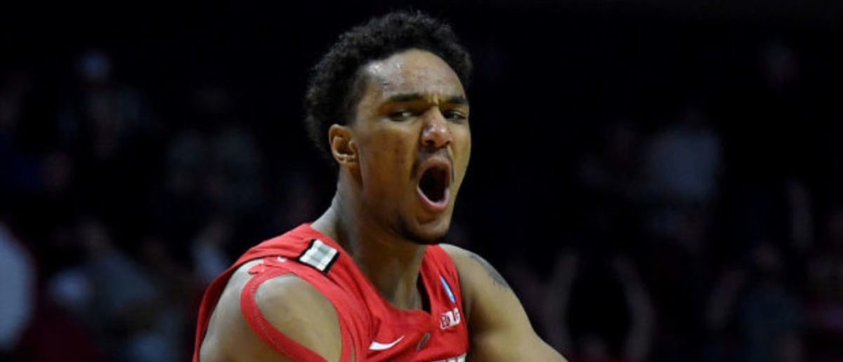 TULSA, OKLAHOMA - MARCH 22: Musa Jallow #2 of the Ohio State Buckeyes celebrates after defeating the Iowa State Cyclones in the first round game of the 2019 NCAA Men's Basketball Tournament at BOK Center on March 22, 2019 in Tulsa, Oklahoma. (Photo by Harry How/Getty Images)