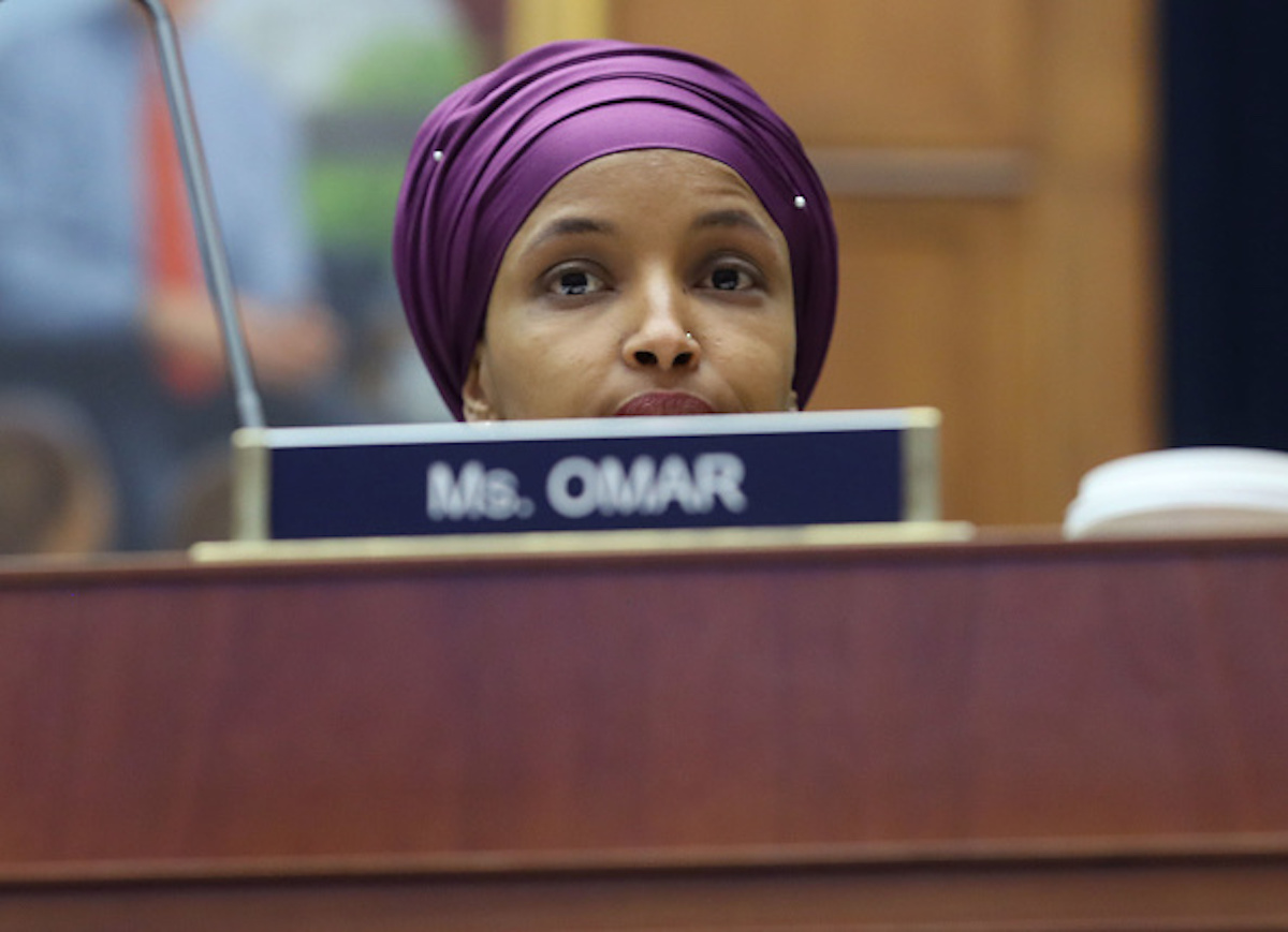 WASHINGTON, DC - MARCH 06: Rep. Ilhan?Omar?(D-MN) participates in a House Education and Labor Committee Markup on the H.R. 582 Raise The Wage Act, in the Rayburn House Office Building on March 6, 2019 in Washington, DC. (Photo by Mark Wilson/Getty Images)