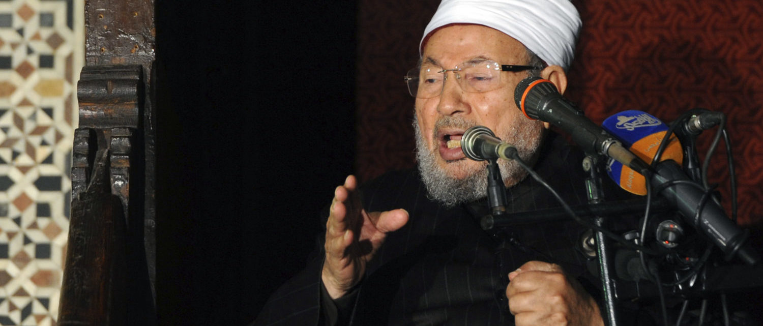 Egyptian Cleric Sheikh Yusuf al-Qaradawi, chairman of the International Union of Muslim Scholars, gives a speech during Friday prayers, before a protest against Syrian President Bashar al-Assad, at Al Azhar mosque in old Cairo December 28, 2012. (Photo by REUTERS/Amr Abdallah Dalsh)