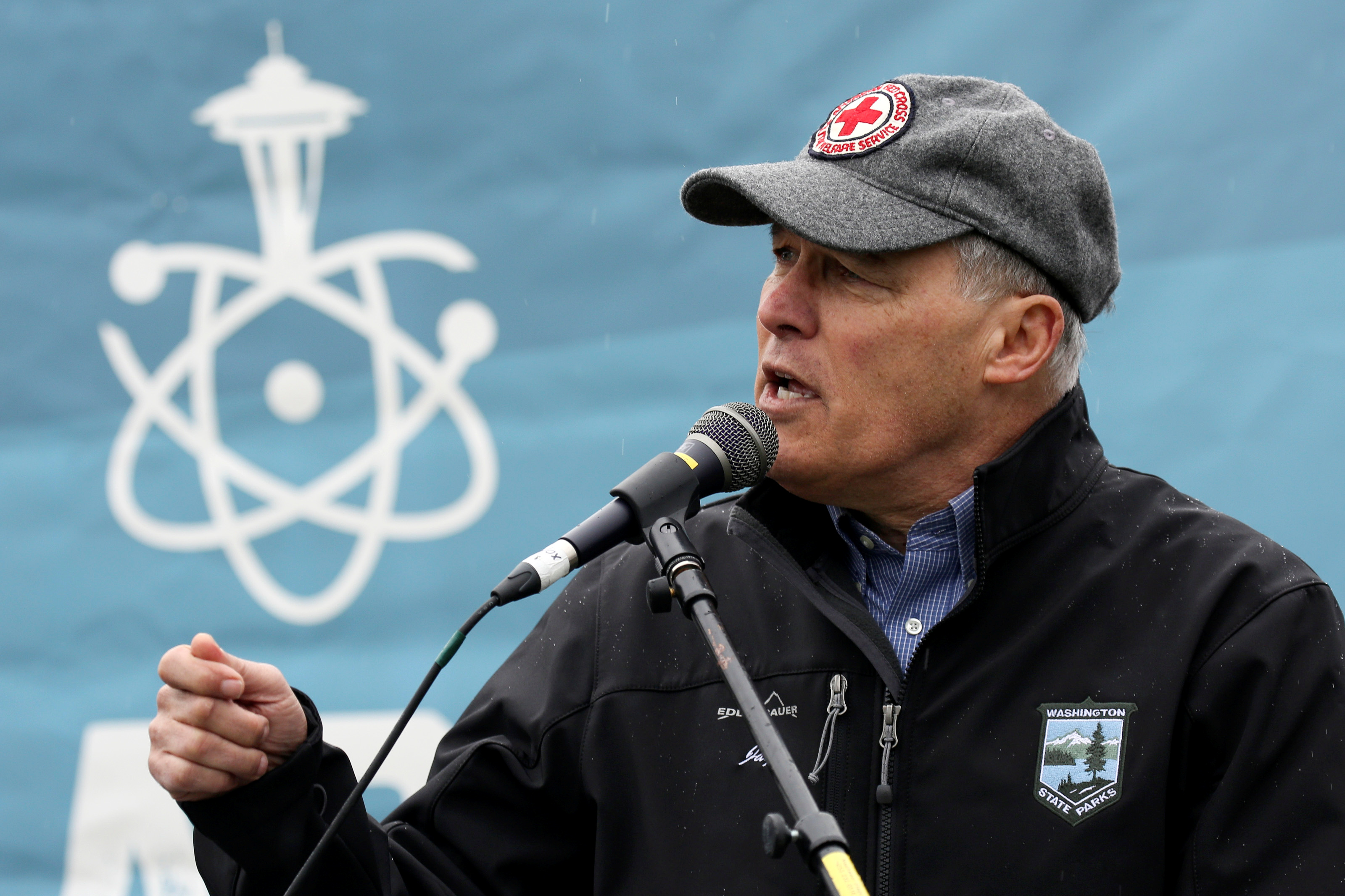 Washington Governor Jay Inslee speaks during a rally at the beginning of the March For Science in Seattle, Washington