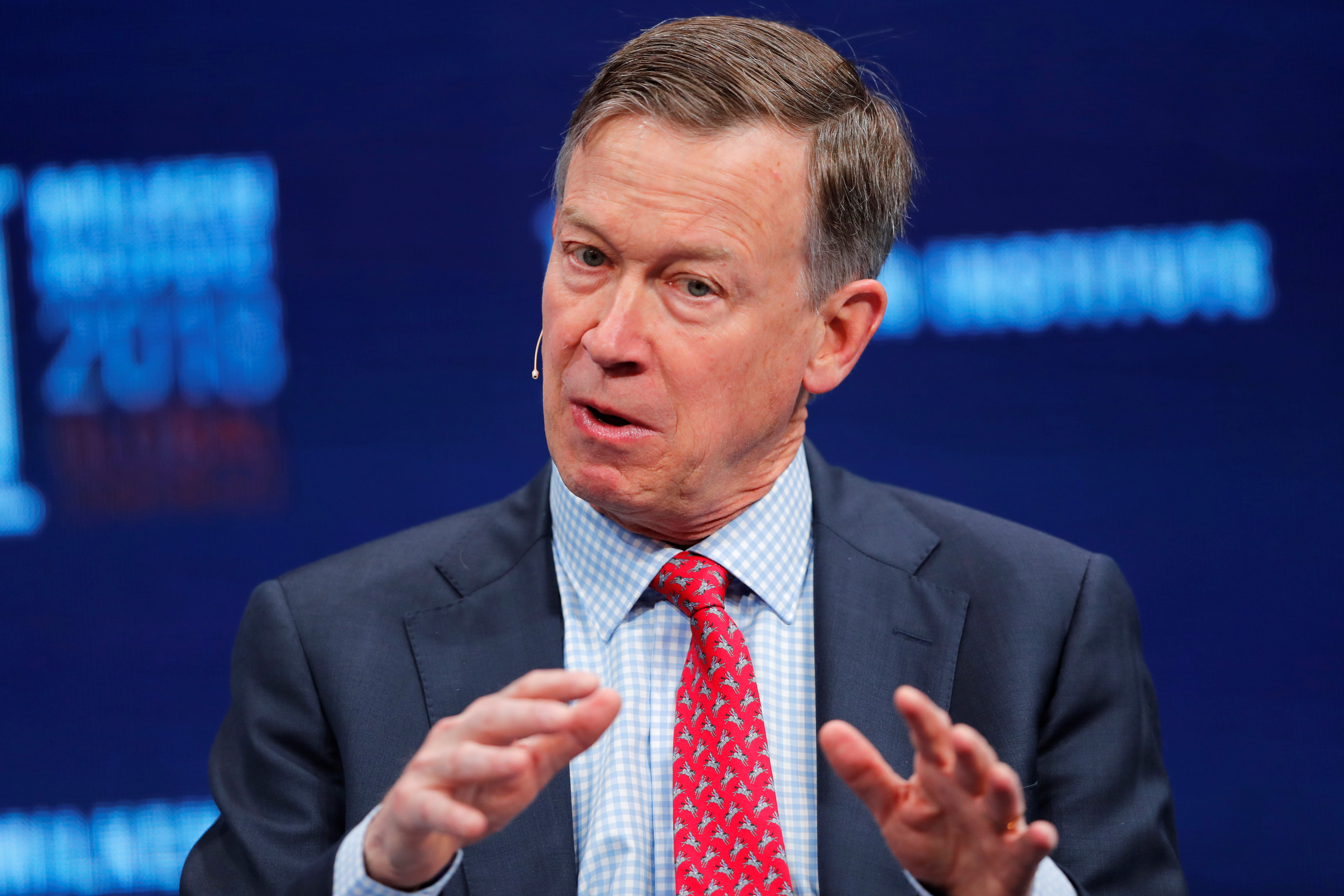 John Hickenlooper Governor, Colorado speaks at the Milken Institute 21st Global Conference in Beverly Hills, California