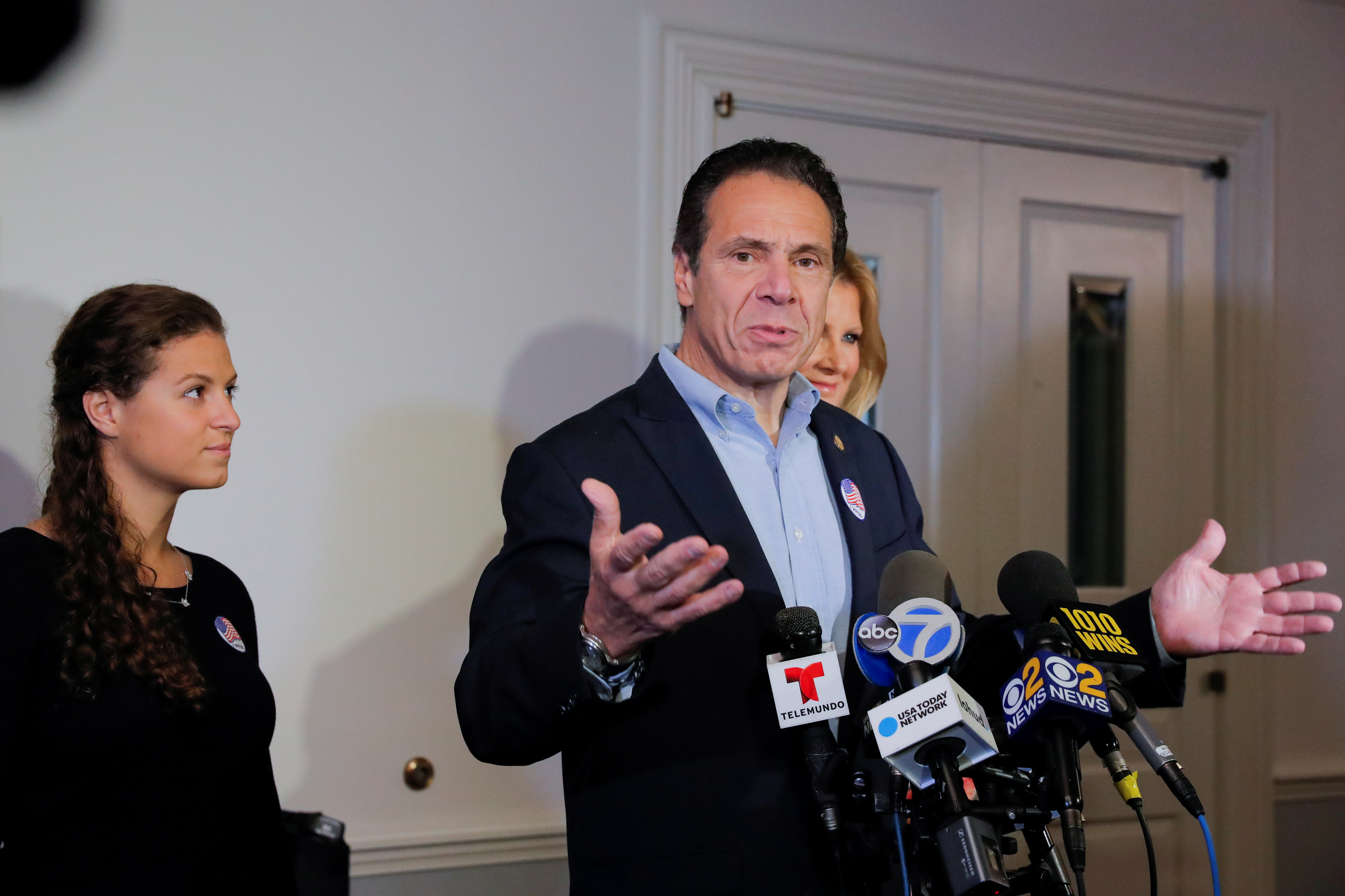 Democratic New York Governor Andrew Cuomo gives a news conference after voting for the midterm elections, at the Presbyterian Church in Mt. Kisco, New York